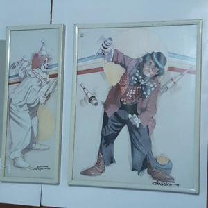 Vintage Circus Clown vs HOBO litho prints